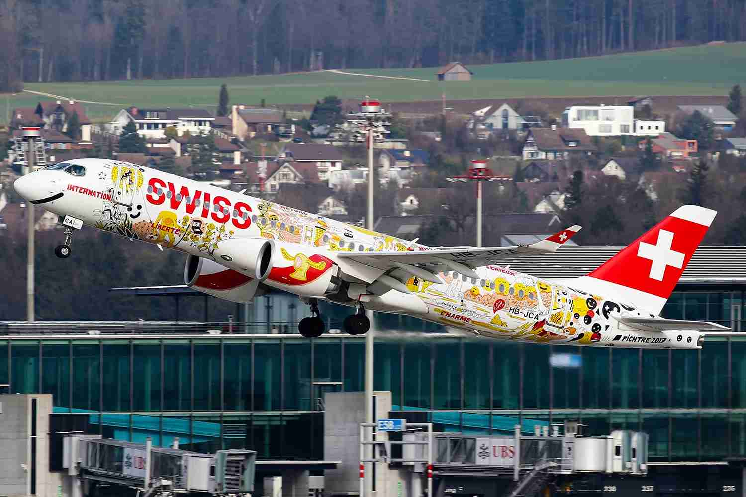 A Swiss Bombardier CS100 departing Zurich for Dusseldorf. (Photo by C. V. Grinsven/SOPA Images/LightRocket via Getty Images)