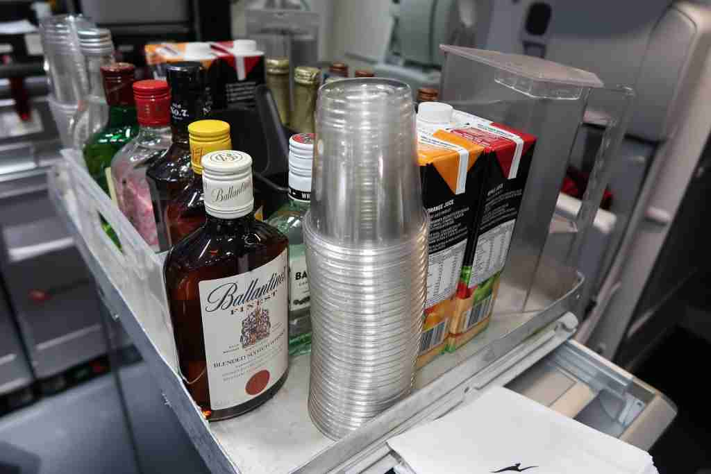 Qantas offers a wide range of free spirits in economy on its longest flight. Image by JT Genter / TPG