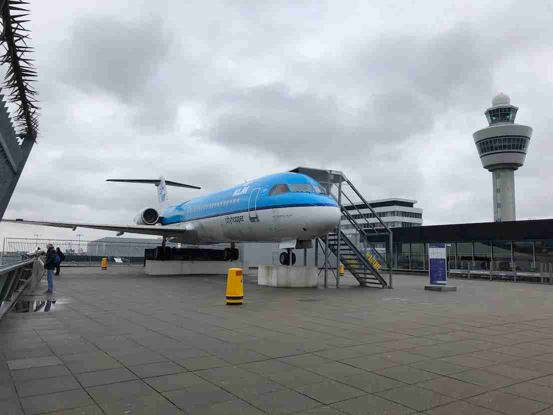 The mighty Fokker 100 atop the Panorama Terrace. The KLM blue contrasts gorgeously with the gray Dutch skies.