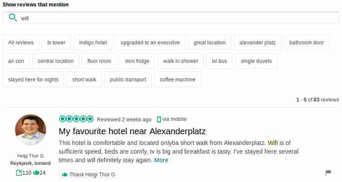 Tripadvisor allows reviews to be filtered by keyword.