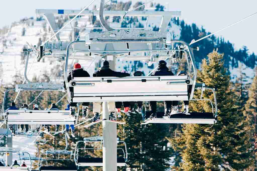 A ski lift taking people up to the slopes on Mammoth Mountain. (Photo by MCCAIG/Getty Images)