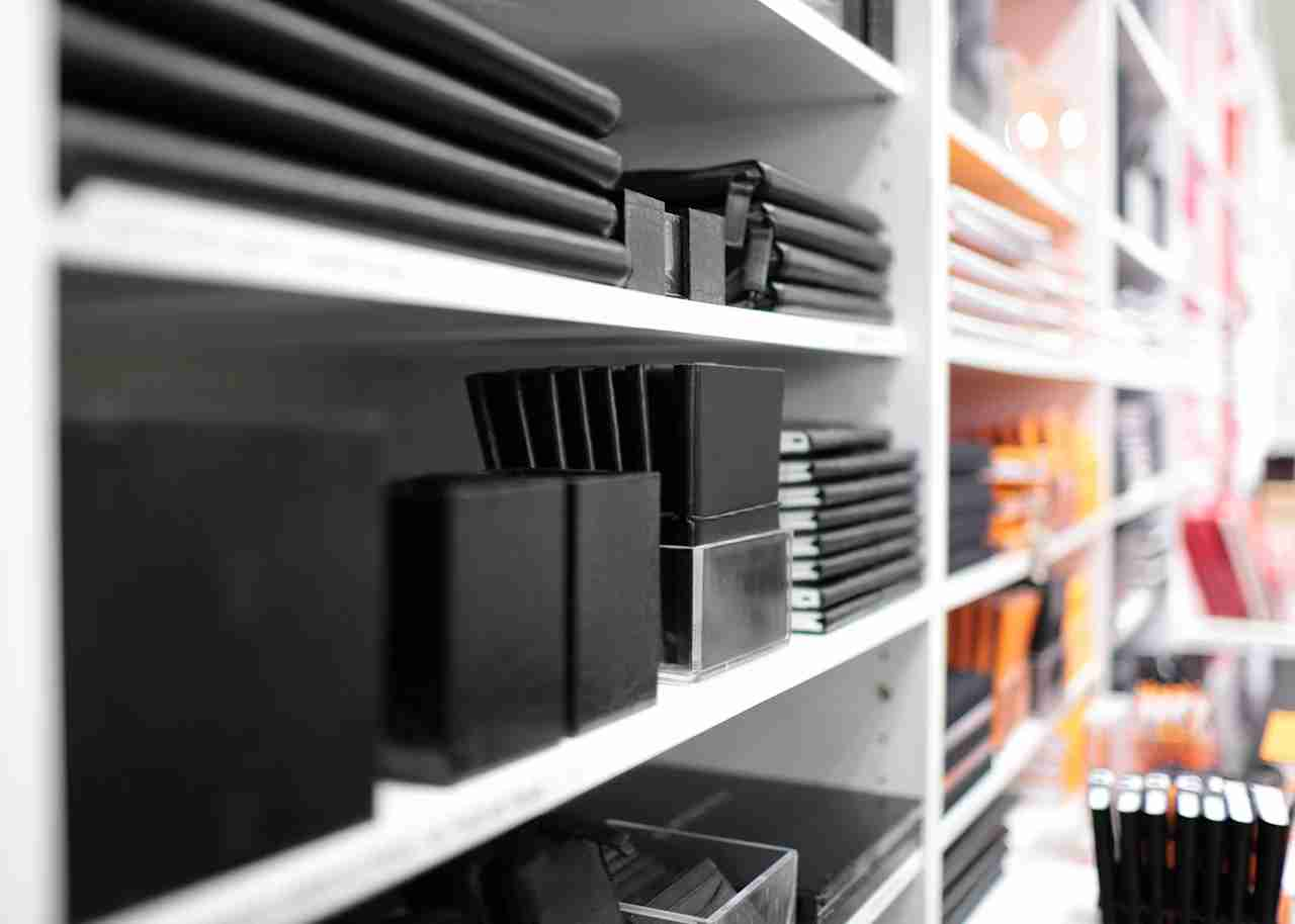 Shelves with stationery in a shop