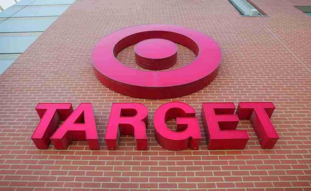 CHICAGO - JULY 18: A sign is seen on the exterior of a Target store July, 18, 2006 in Chicago, Illinois. Heightened concerns that energy prices are slowing consumer spending helped to drag shares of Target down today for their biggest one-day percentage slide in eight months. (Photo by Scott Olson/Getty Images)