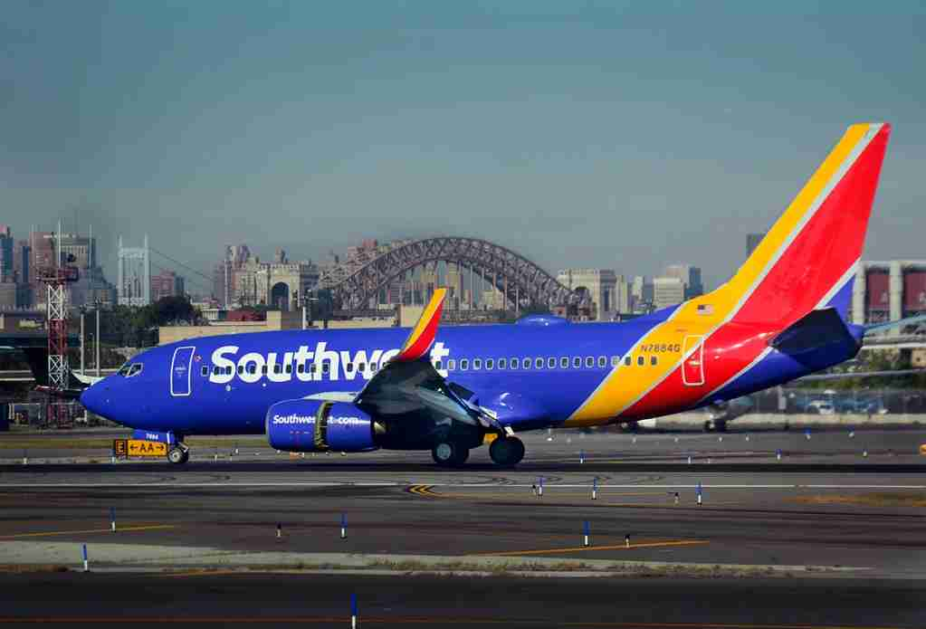 A Southwest Airlines Boeing 737 lands at LaGuardia Airport in New York on October 4, 2017. (Photo by Robert Alexander/Getty Images)