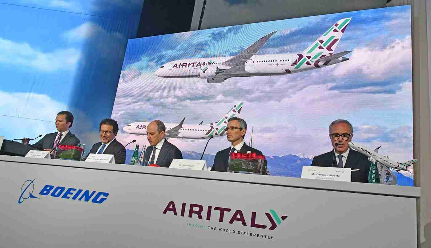 Boeing andAir Italy executives with Qatar Airways CEO Akbar al Baker, second from left, at an airplane delivery ceremony in Seattle in May 2018 (Photo by Alberto Riva/TPG)