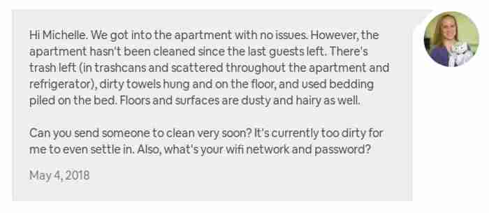 My initial message to the host after entering the Airbnb.