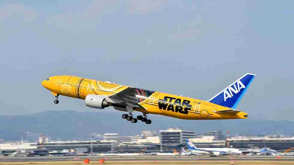 The 777-300 painted to resemble C3P0 flies on Japanese domestic routes that require its large passenger-carrying capacitry. (Photo courtesy ANA)
