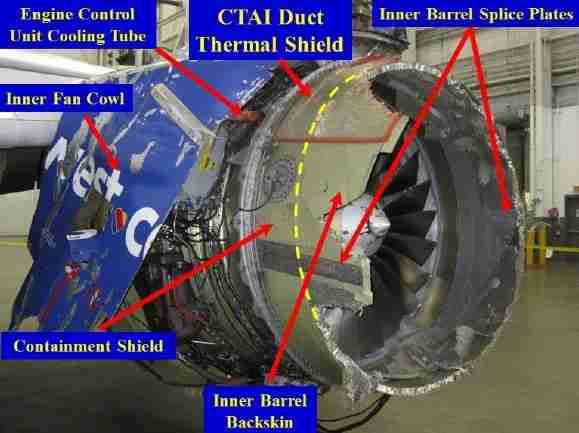 Figure 1. Damage to cowl - inboard