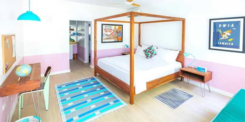 One of the mid century modern rooms at the Skylark boutique hotel in Negril. (Photo courtesy Skylark)