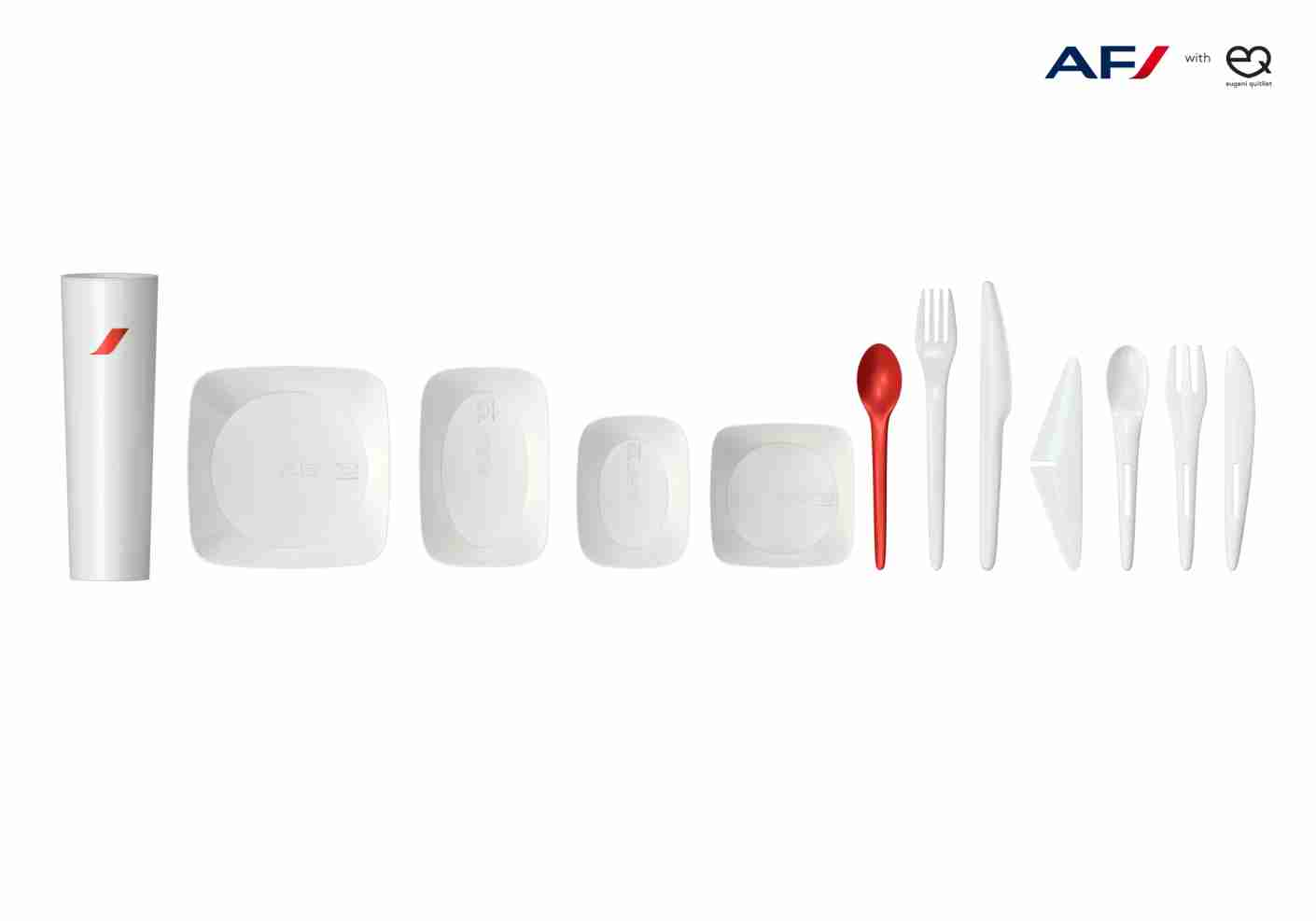 The new range of dishes and utensils Quitllet designed for Air France. Image courtesy of Eugeni Quitllet.