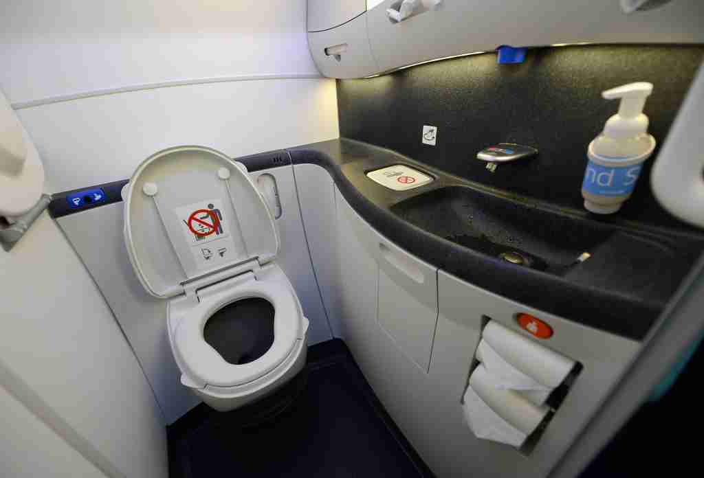 LOS ANGELES, CA - NOVEMBER 30: A touch lavatory is seen on the United Airlines Boeing 787 Dreamliner at Los Angeles International Airport on November 30, 2012 in Los Angeles, California. In January the new jet is scheduled to begin flying daily non-stop between Los Angeles International airport and Japan