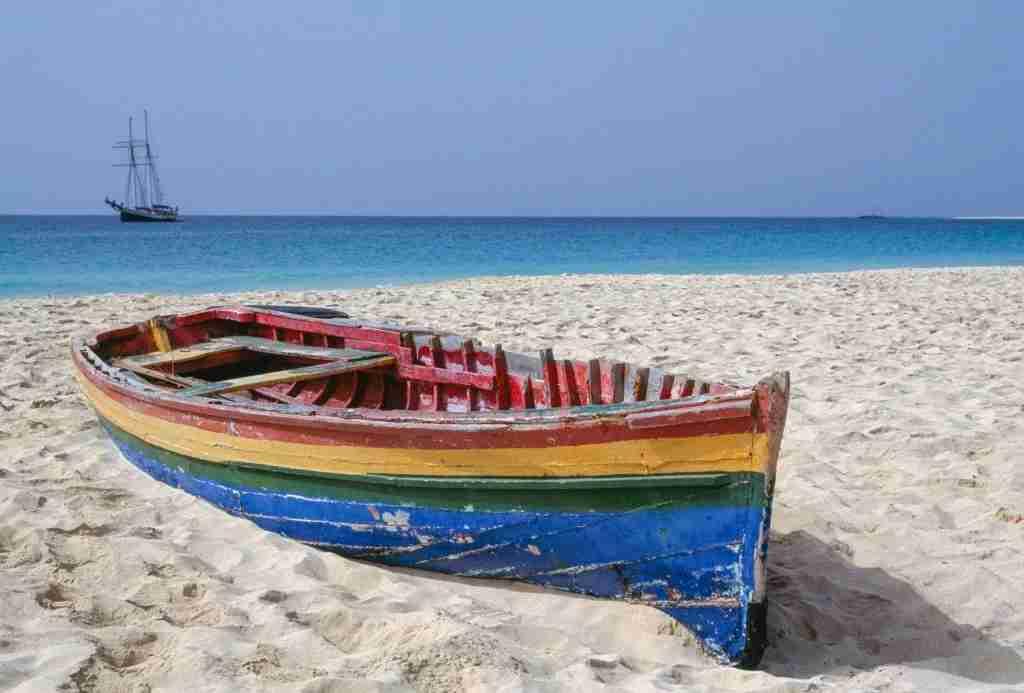 A boat on the beach of Santa Maria, Sal Island, Cape Verde.