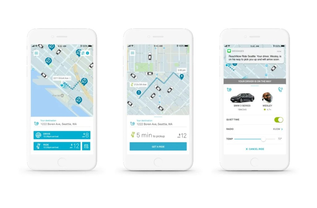 ReachNow, the car rental vertical of BMW, is launching a ride-hailing service in Seattle that will compete with Uber and Lyft.