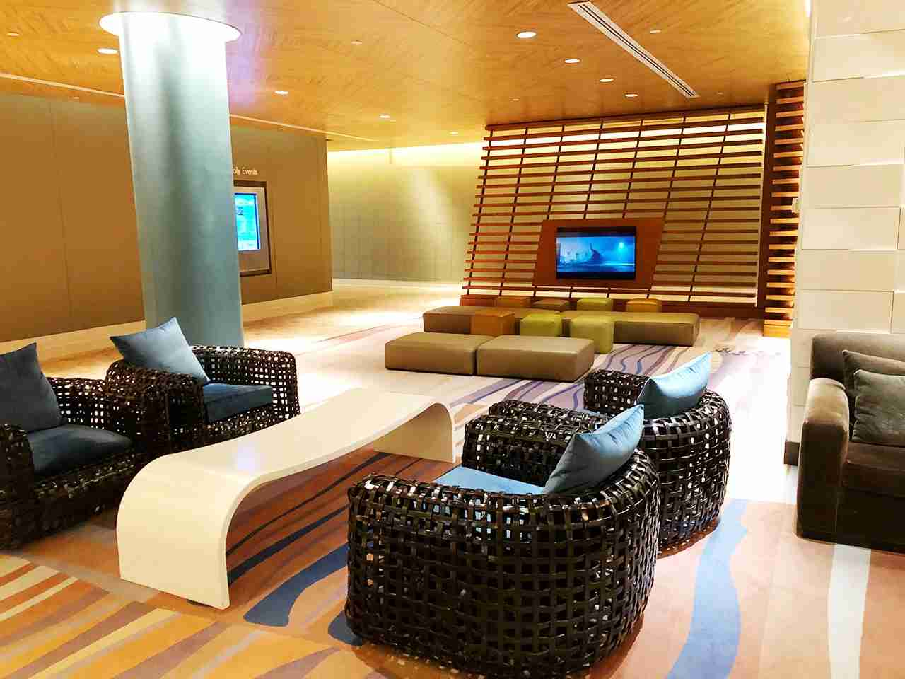 Let the kids watch cartoons while you check-in at the Contemporary