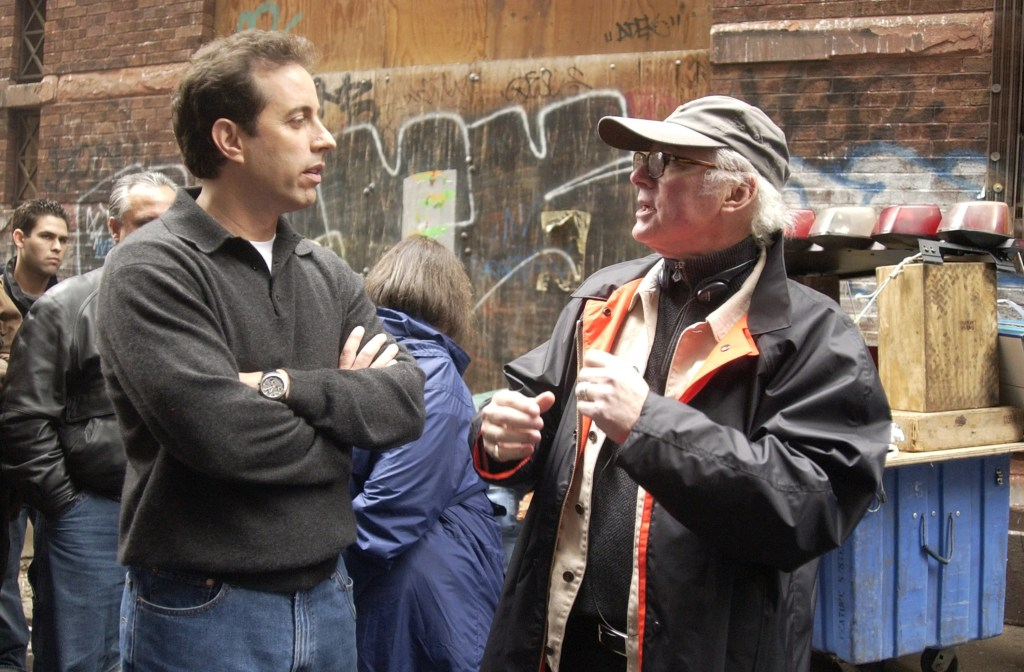 Jerry Seinfeld and director Barry Levinson on the set of an American Express shoot. (Photo by Theo Wargo/WireImage)