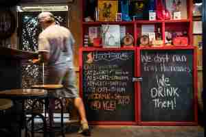 SAINT THOMAS, VIRGIN ISLANDS - NOVEMBER 24: Hurricanes themed drinks are seen on the menu at the Smoking Rooster restaurant and bar on Friday, November 24, 2017, in Saint Thomas, Virgin Islands. (Photo by Salwan Georges/The Washington Post via Getty Images)