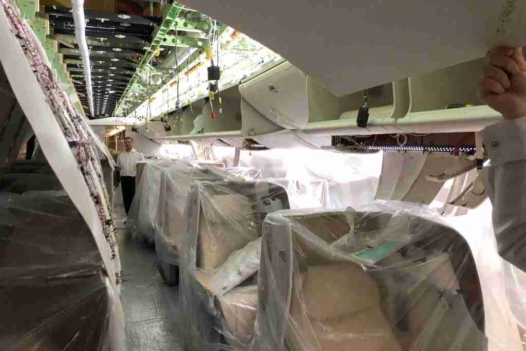 Emirates installed brand-new lie-flat business seats on its 777-200LR. Photo by Zach Honig.