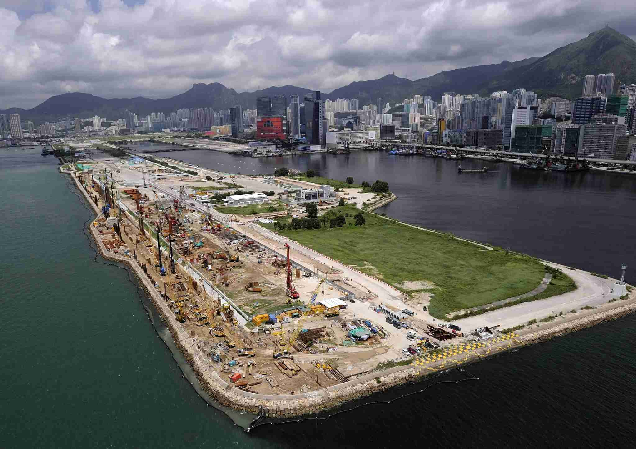 HONG KONG, CHINA - SEPTEMBER 7: Construction site of the Kai Tak Cruise Terminal Building on September 7, 2010 in Hong Kong, China. The new cruise terminal, located at Victoria Harbor, will be able to berth the largest cruise vessels in the world. (Photo by XINHUA/Gamma-Rapho via Getty Images)