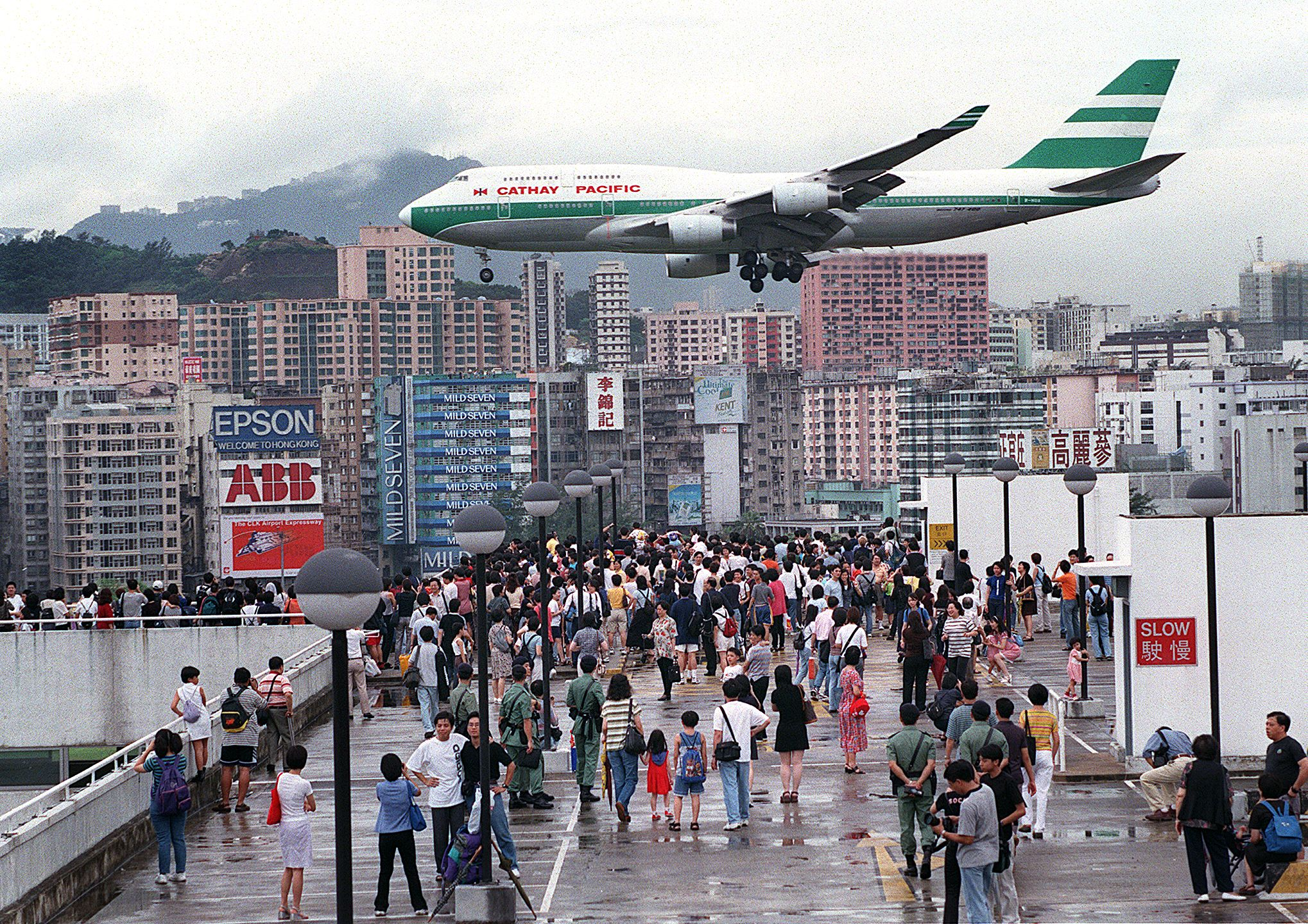 HONG KONG, CHINA: Hundreds of Hong Kong people gather onto Kai Tak Airport