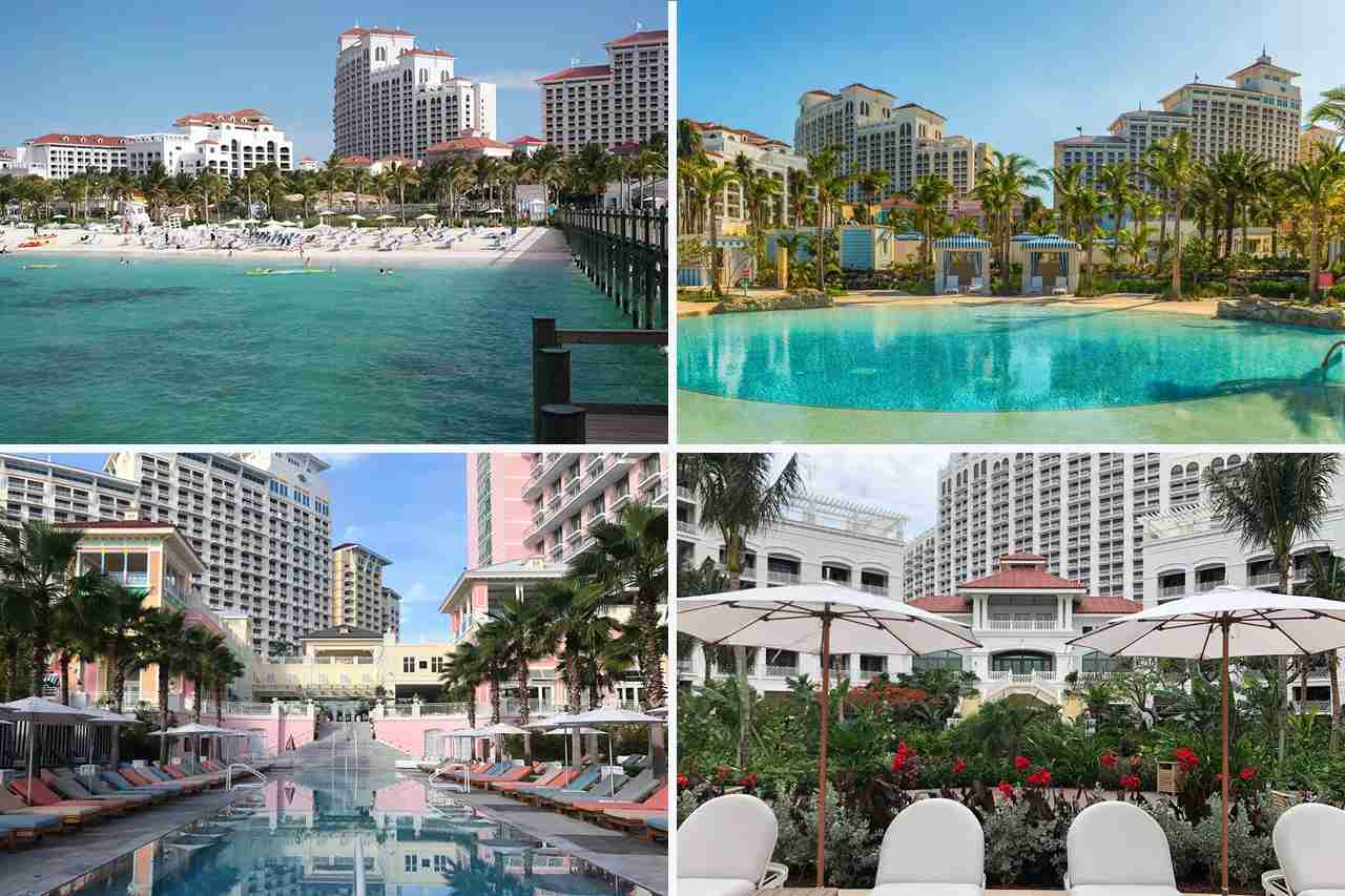 From top, clockwise: The Baha Mar Resort; Grand Hyatt Baha Mar; Rosewood Baha Mar; SLS Baha Mar.