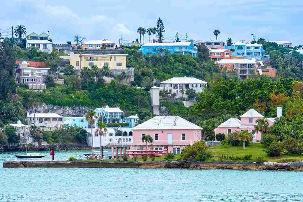 Colorful homes and hotels on this hillside in Hamilton, Bermuda. (Photo by andykazie / Getty Images)