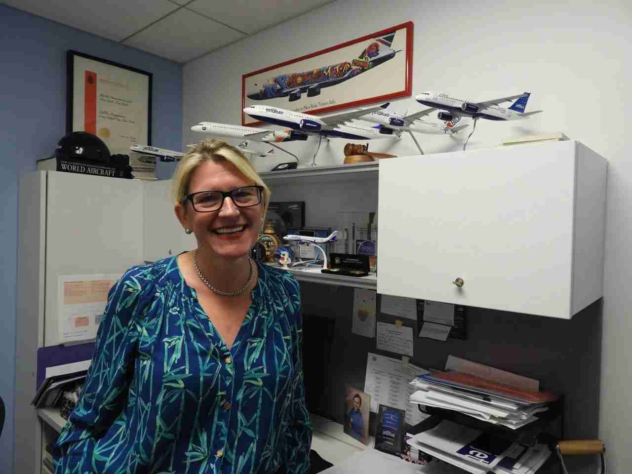 JetBlue COO and President Joanna Geraghty in her modest, egalitarian office at the airline
