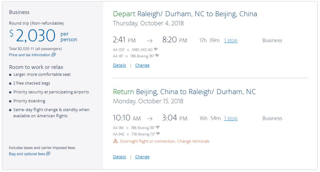 beijing to from raleigh flights rdu