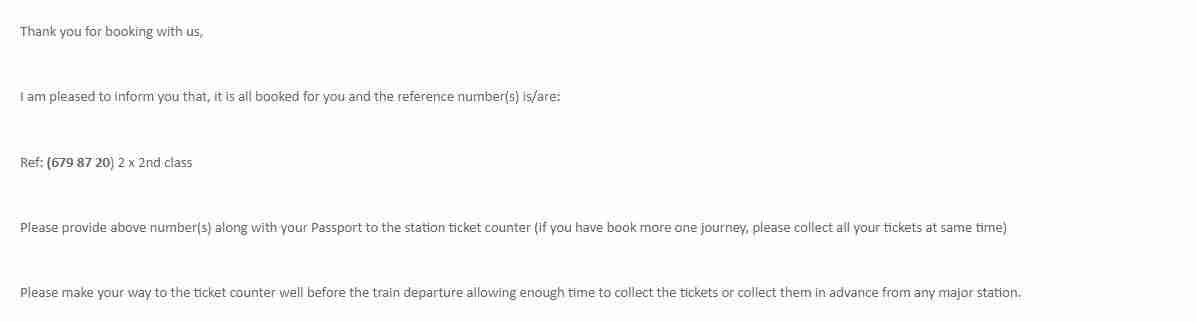 Sri Lanka Tours confirmed my tickets via email.