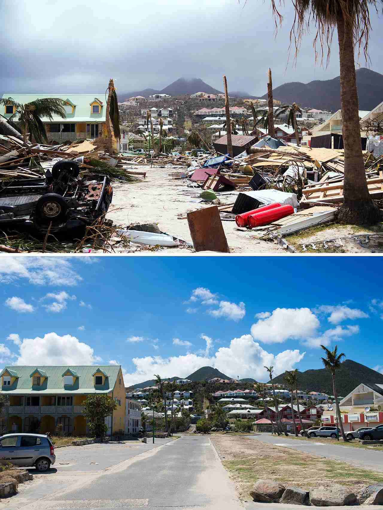 A street full of debris in Orient Bay on the French Carribean island of Saint-Martin on September 7, 2017 and the same street cleared of debris on February 27, 2018. (Photo by LIONEL CHAMOISEAU/AFP/Getty Images)