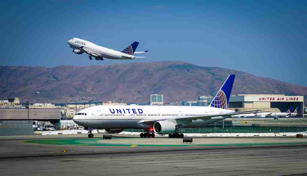 United Airlines (UA) at the San Francisco International Airport (SFO), one of the main hubs for United. (Photo by Shutterstock.com)
