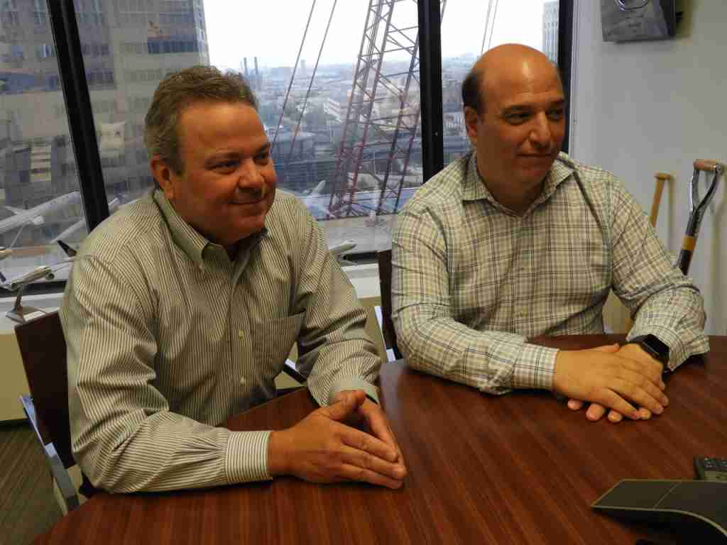 United Airlines Chief Operations Officer Gregory Hart on the left and Andrew Nocella, Chief Commercial Officer on the right. (Photo by: Chris Sloan)