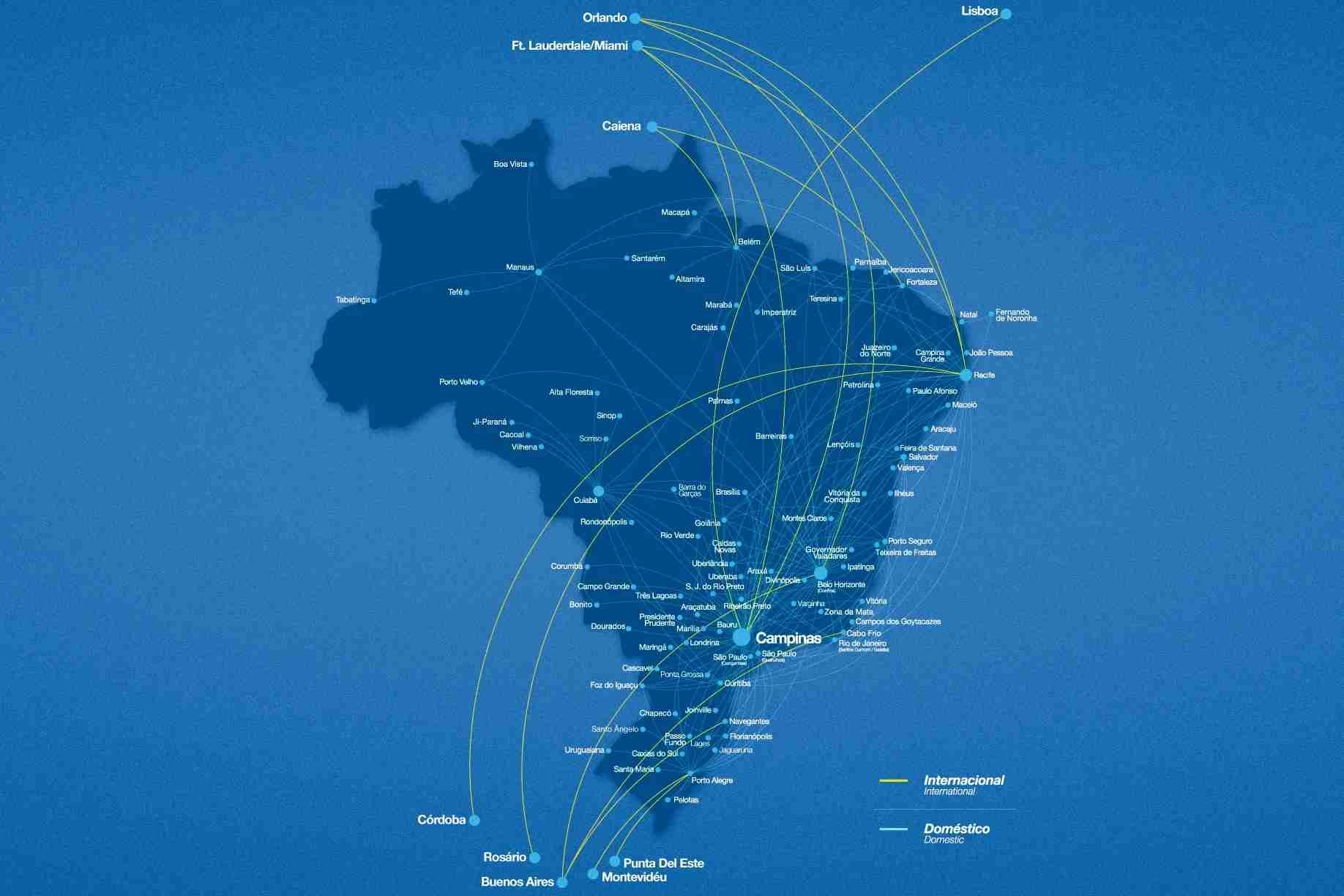 Any route in blue except to FEN is available with the Azul Airpass. Route map courtesy of Azul website.