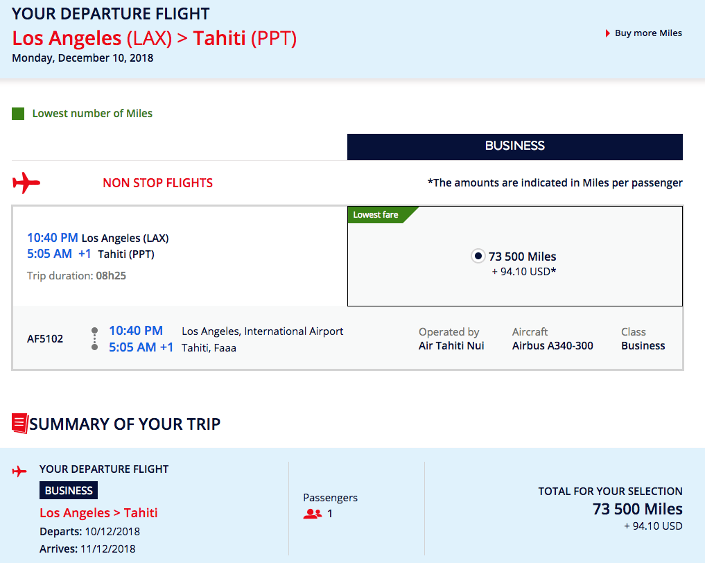 Flying Blue now displays dynamic award pricing, but this is the lowest we found for an Air Tahiti Nui business class ticket