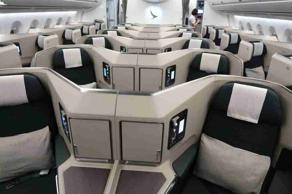 Cathay business class on a A350-1000. (Photo by JT Genter / The Points Guy)