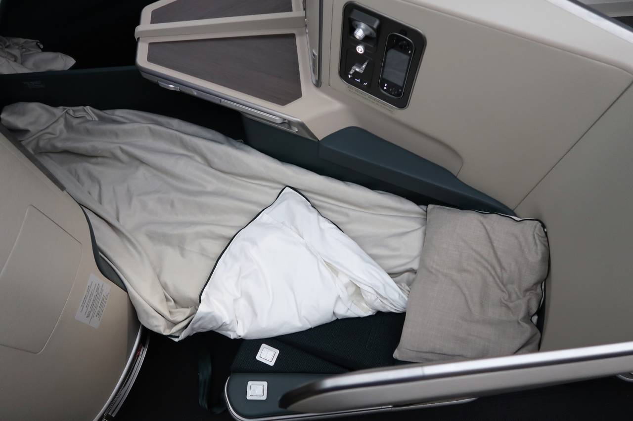 A Cathay Pacific business class seat on the Airbus A350-1000. (Photo by JT Genter/The Points Guy)