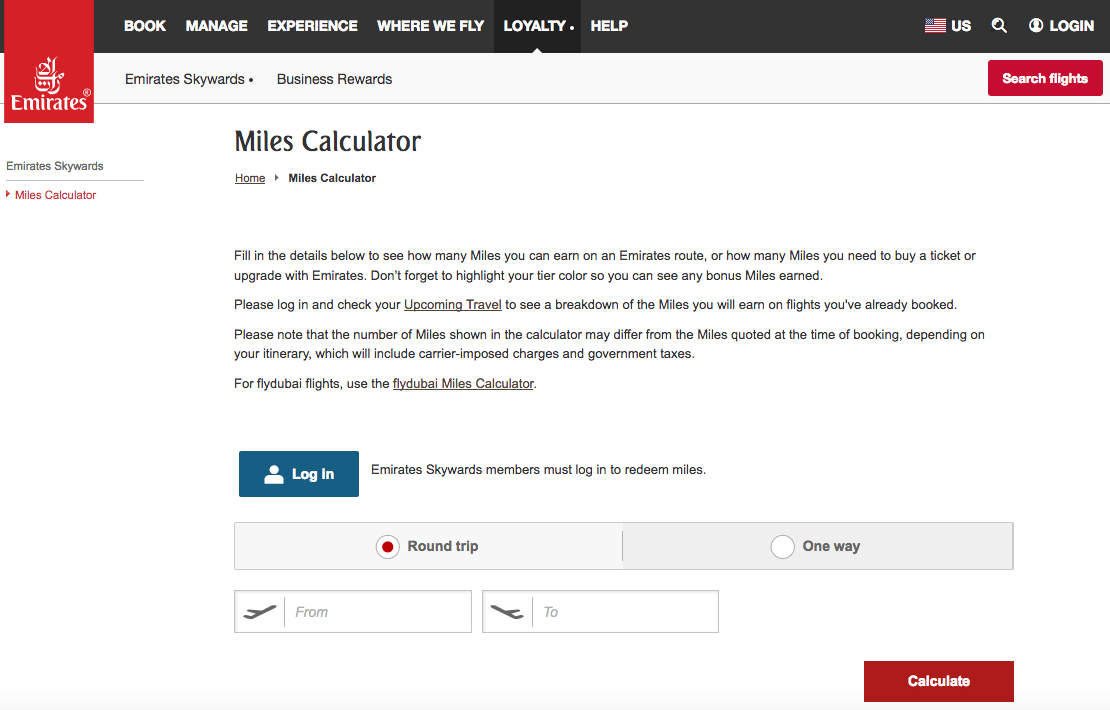 Use the Emirates Flight Calculator to figure out how many miles you