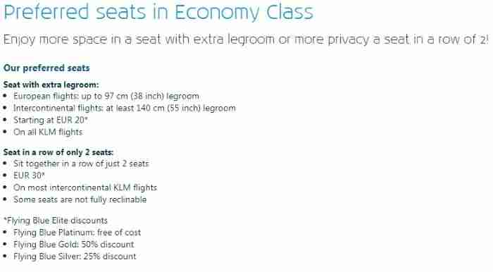 Unsurprisingly, KLM's preferred seat policies are similar to Air France's.