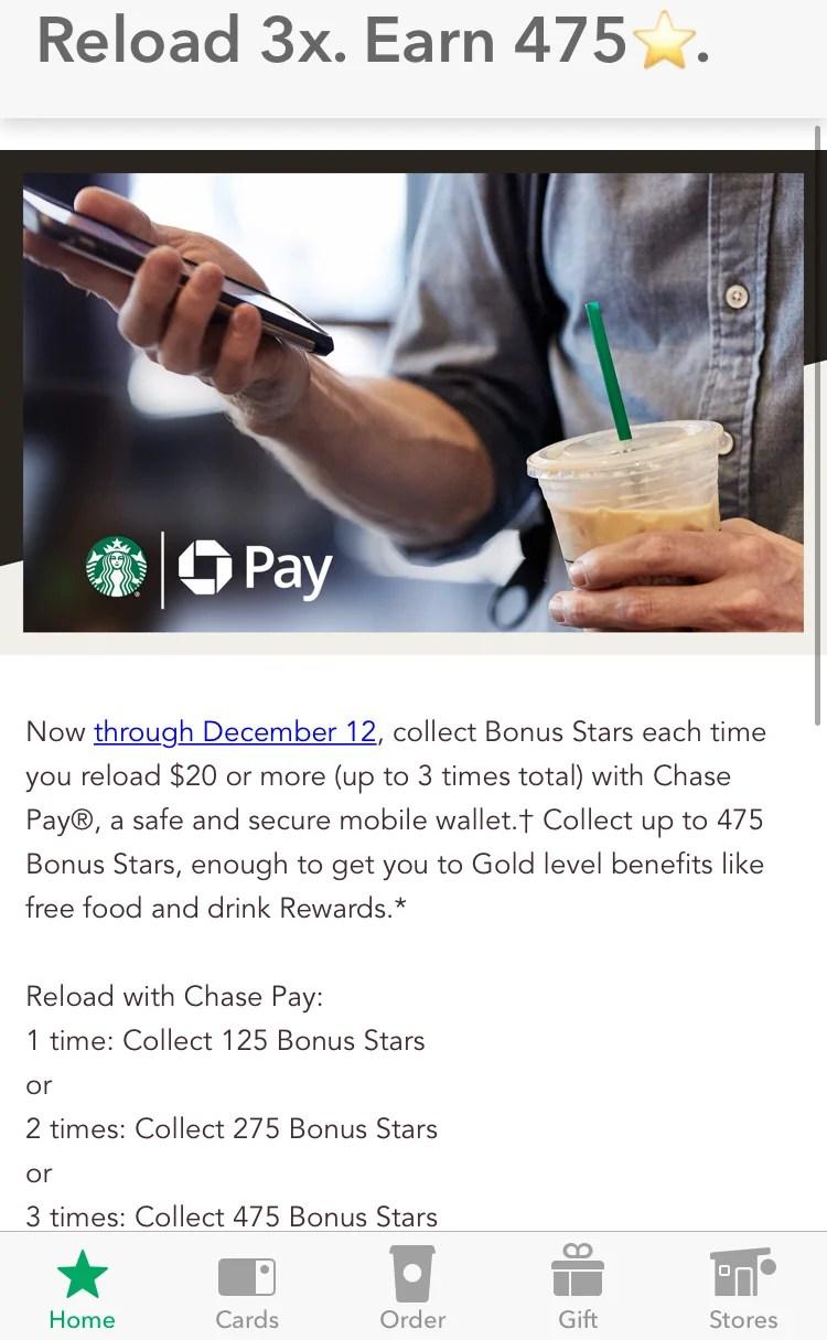 Reload Starbucks via Chase Pay, Earn up to 475 Bonus Stars