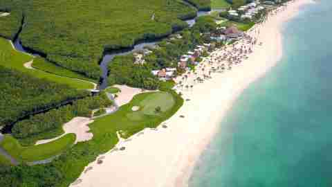 aerial of Mayakoba Beach in Playa del Carmen