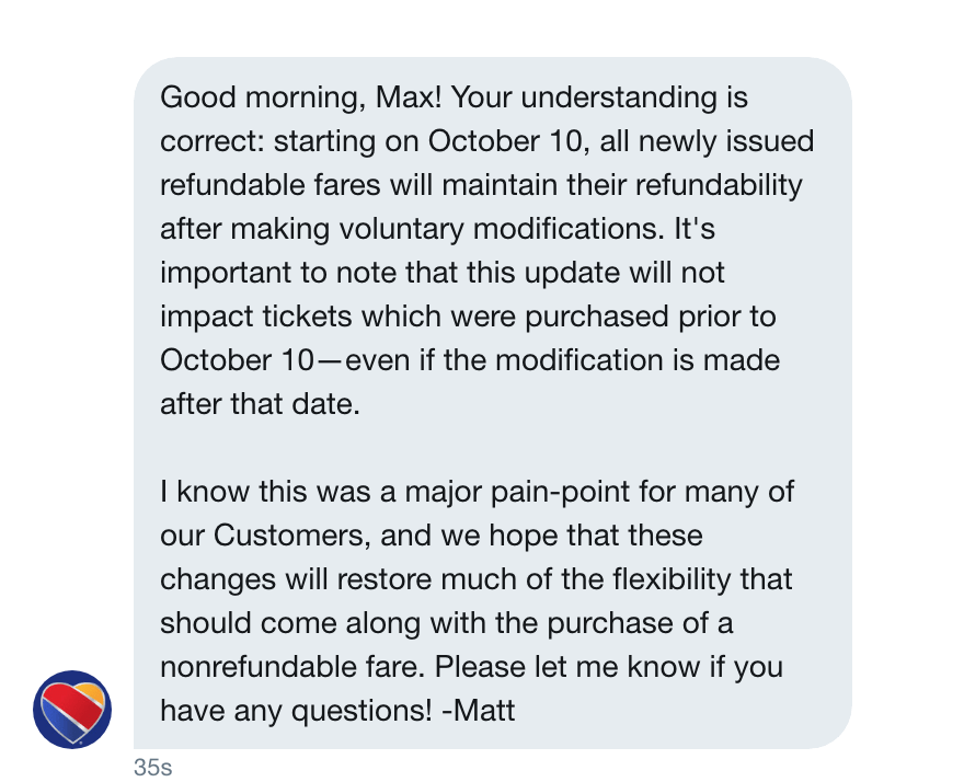 My exchange with Matt from Southwest Airlines