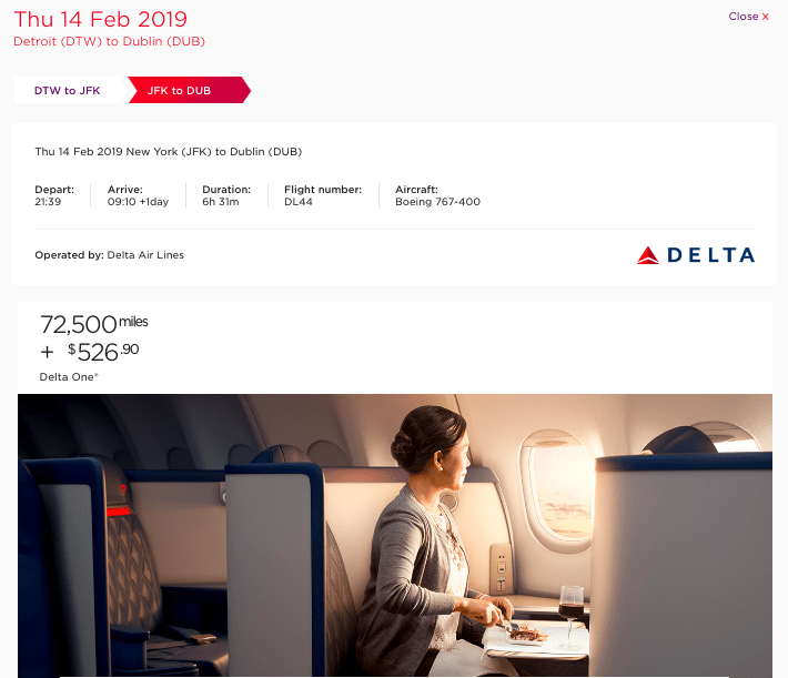 Virgin Atlantic adds $526.90 in fuel surcharges for Delta-operated award flight from Detroit to Dublin (via New York-JFK)