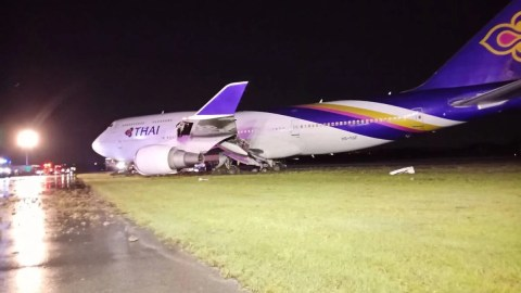 9d30289f36 Thai Airways Boeing 747 Skids off Runway in Bangkok