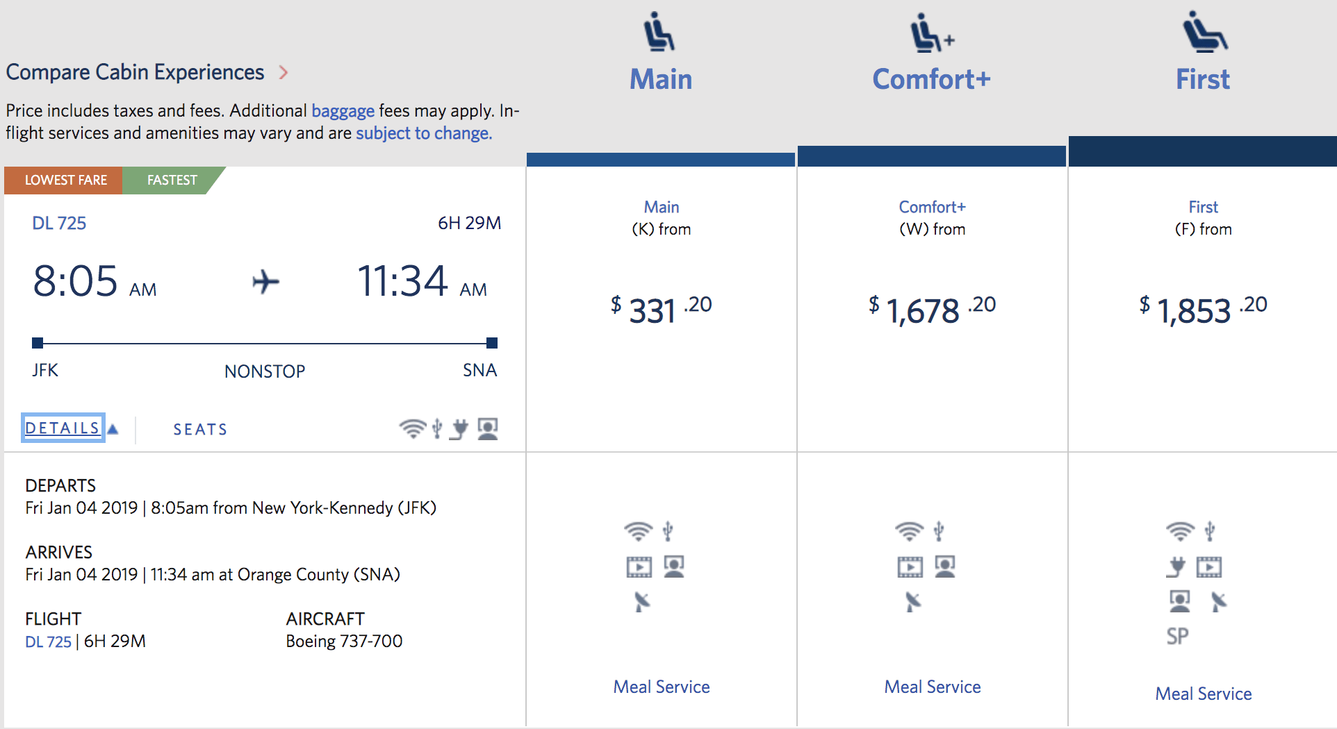 Pricing for the last JFK-SNA flight on Delta