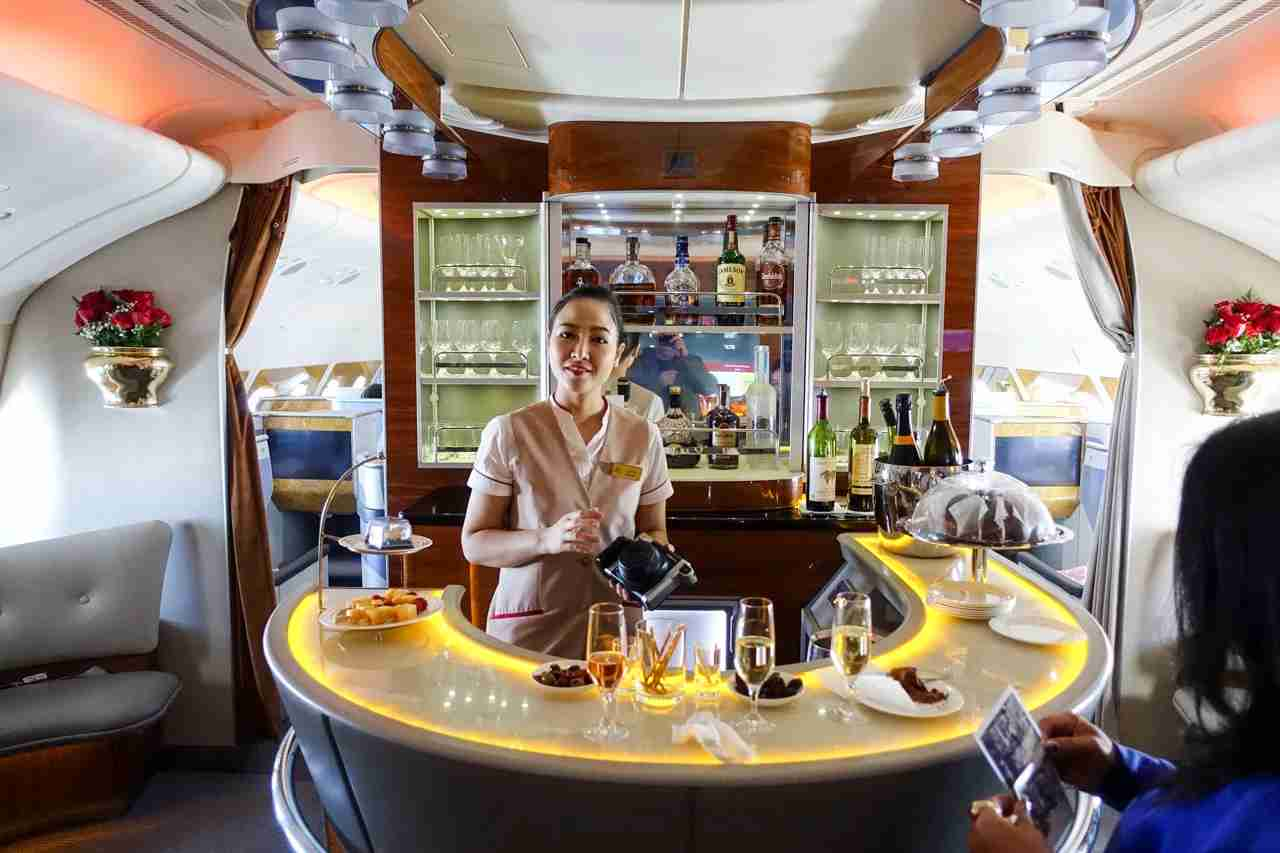 Emirates A380 onboard bar. Photo by Brian Kelly / The Points Guy
