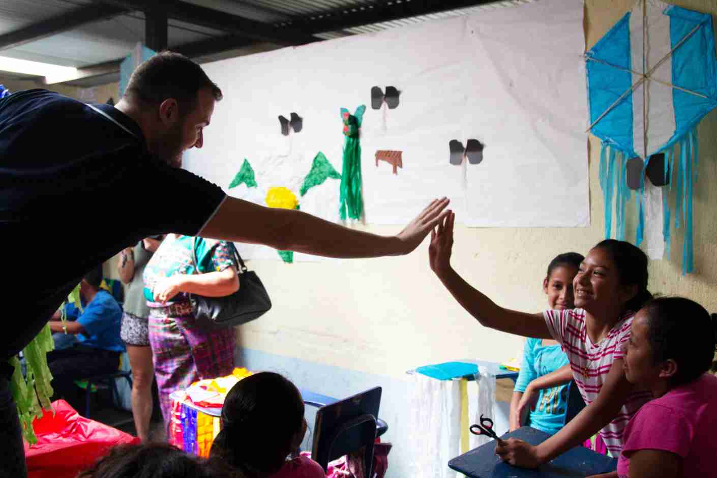 Brian Kelly visits a school affected by the catastrophic eruption of Guatemala