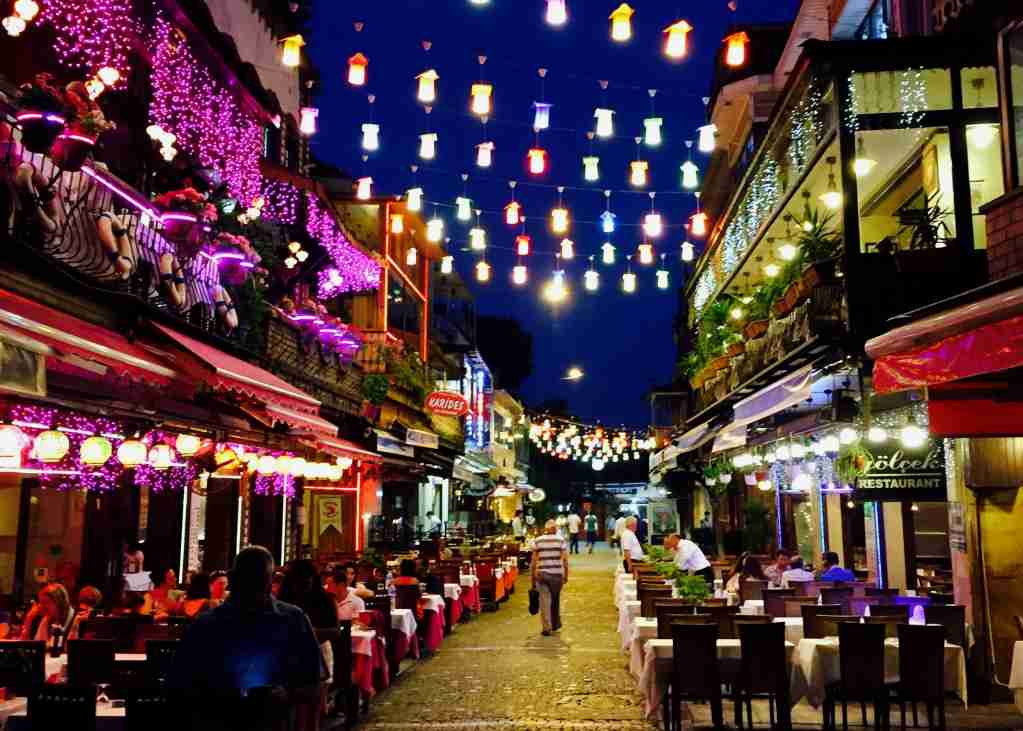 colorful lights on street in Istanbul