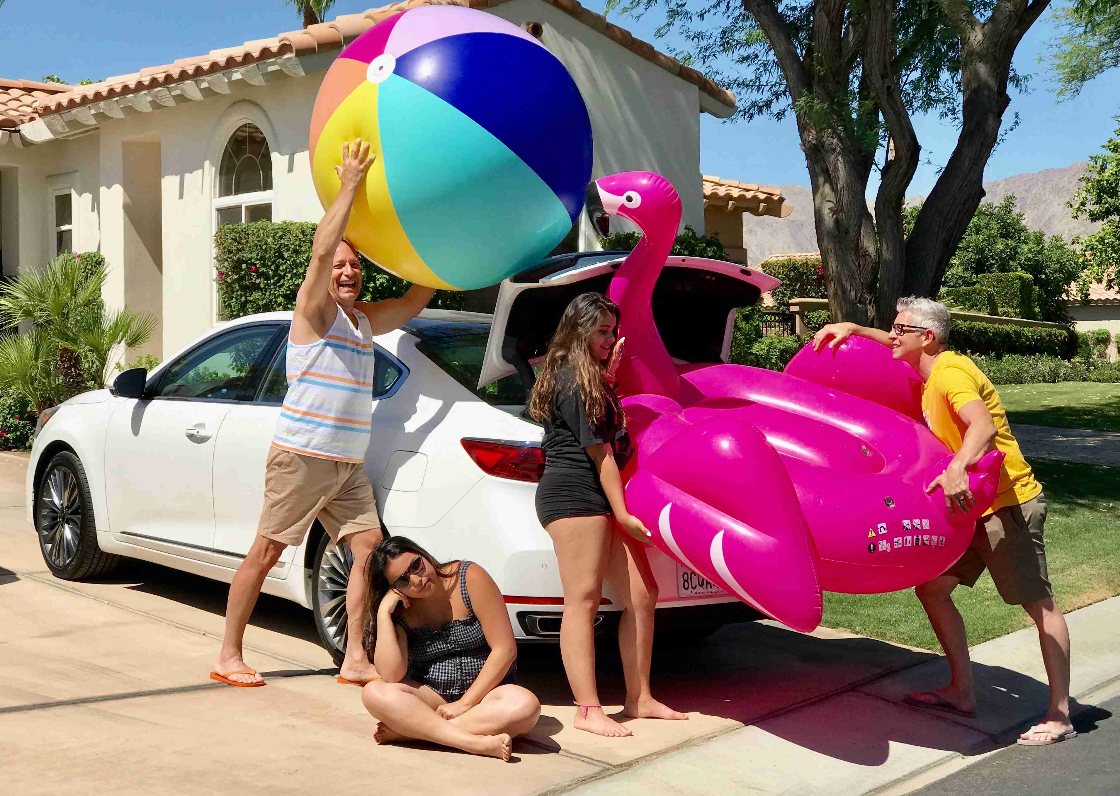 The pool toys never seem as big when you buy them, but when you try to bring them home from Palm Springs? Yeah, that.