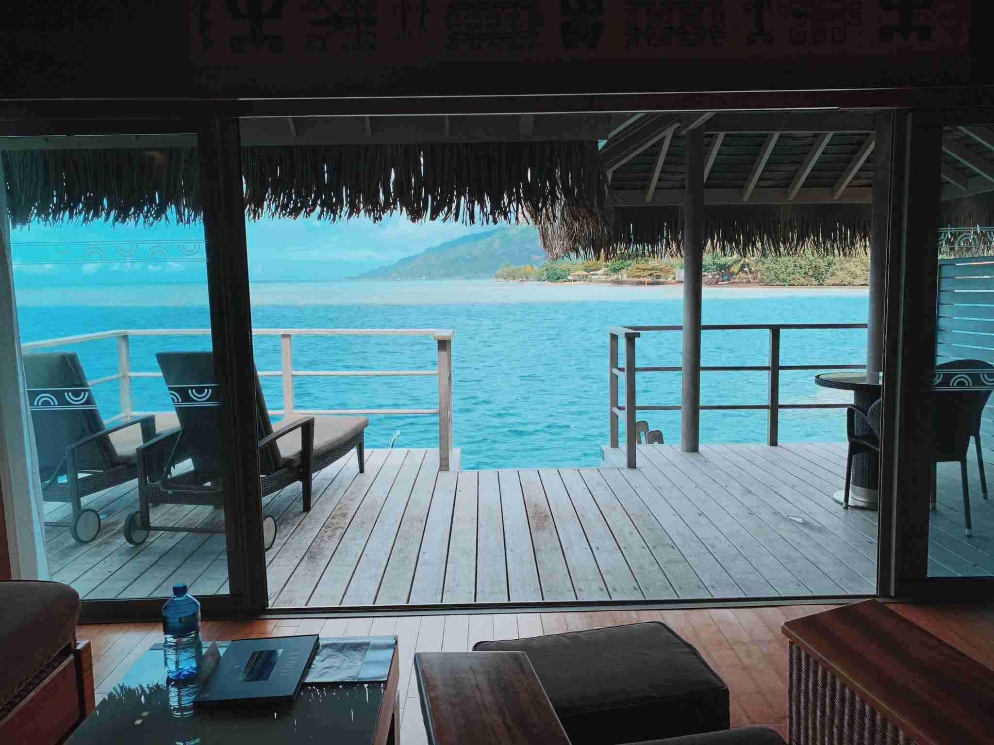 InterContinental Resort and Spa Moorea - overwater bungalow rear porch view