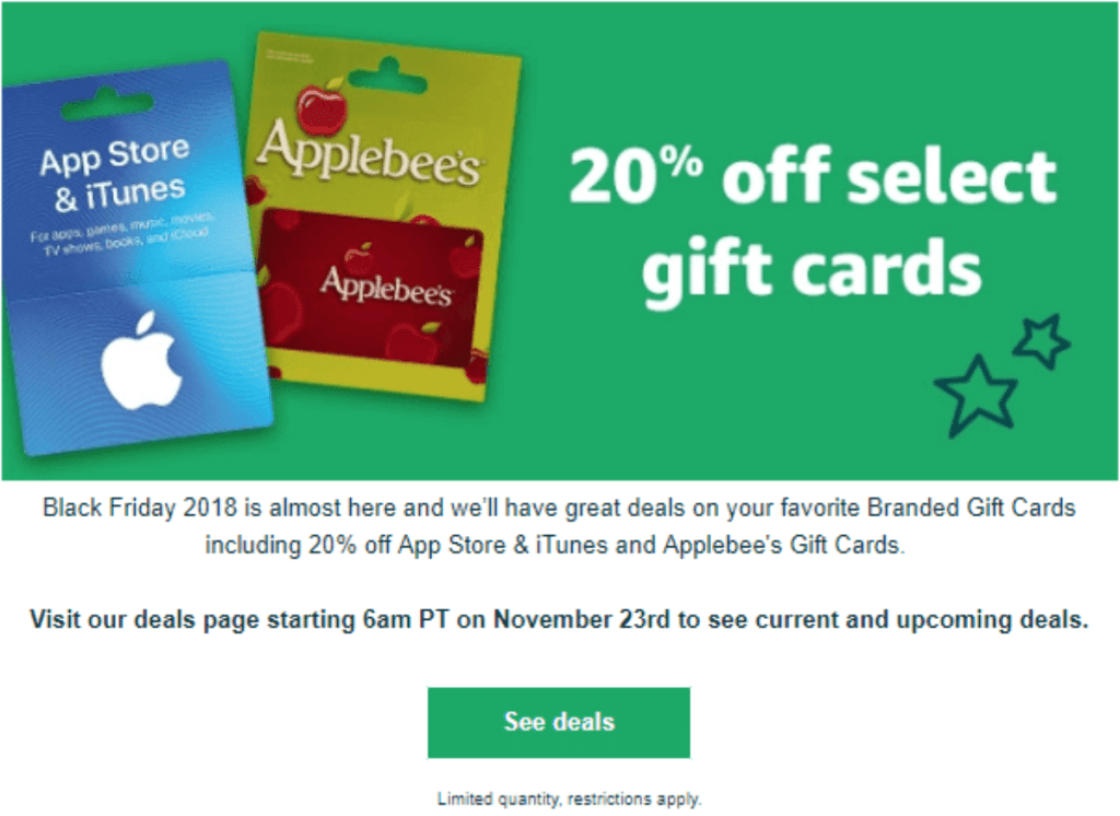 Amazon Flash Sale 20 Off 3rd Party Gift Cards Starting Now