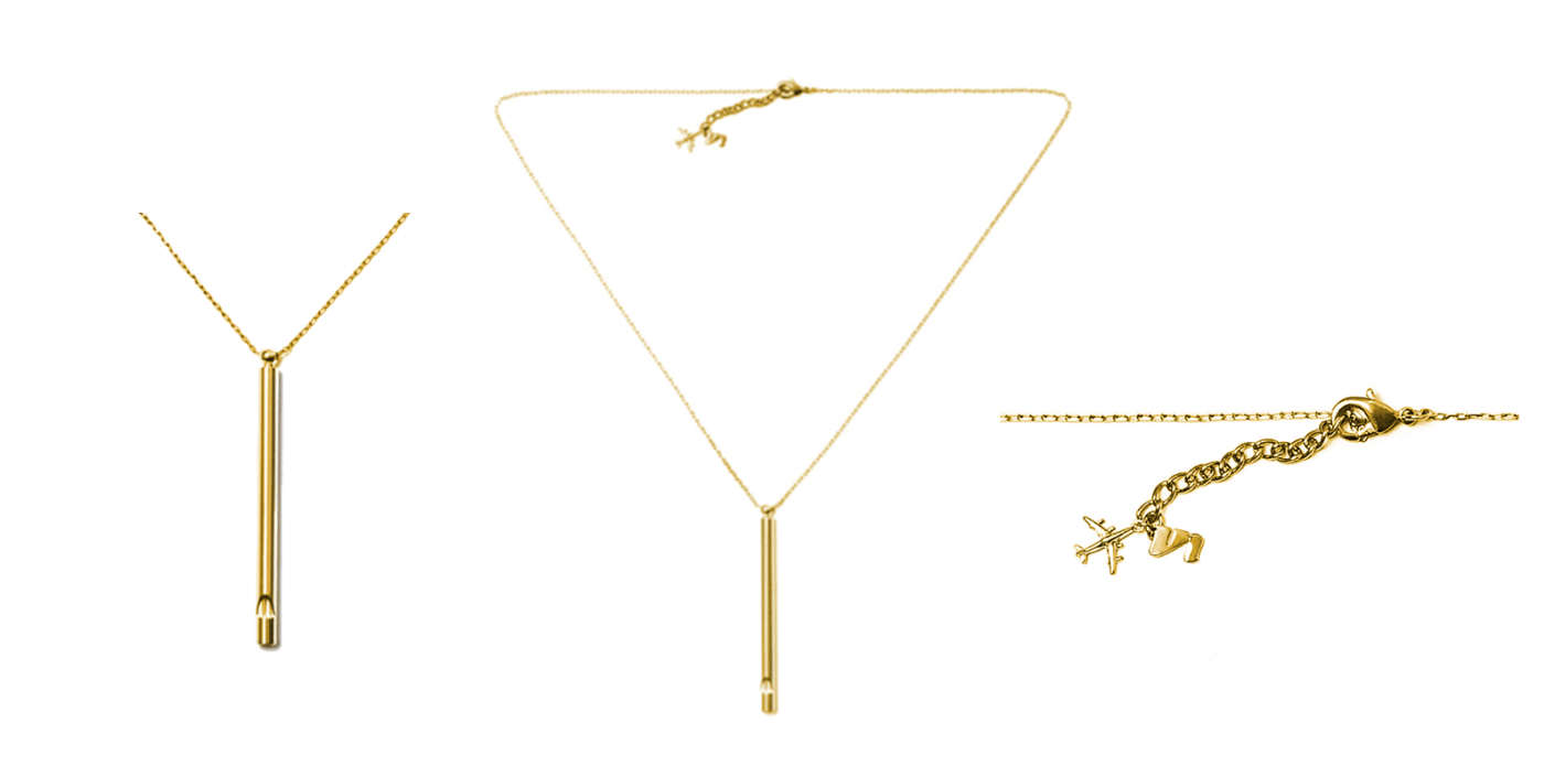 The Whistle Necklace from Unbound is specifically intended for women who may be at risk while traveling, and it comes in both gold and silver. (Images via Unboundbabes.com)
